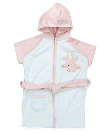 Pink Rabbit Half Sleeves Hooded Bathrobe - Light Blue