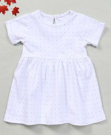 YiYi Garden Dot Print Dress With Front Pocket - White