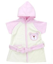 Pink Rabbit Half Sleeves Hooded Bathrobe - Yellow