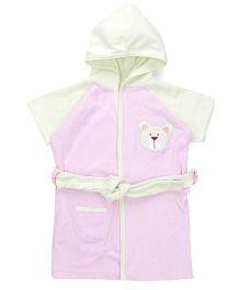 Pink Rabbit Half Sleeves Hooded Bathrobe - Pink