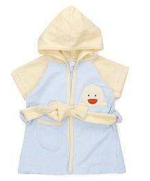 Pink Rabbit Half Sleeves Hooded Bathrobe - Yellow & Blue