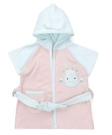 Pink Rabbit Half Sleeves Hooded Bathrobe - Peach