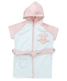 Pink Rabbit Half Sleeves Hooded Bathrobe - Light Blue