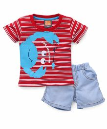 Little Kangaroos Half Sleeves T-shirt With Shorts - Red