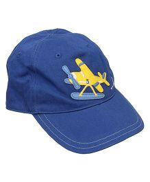Little Wonder Solid Pattern Cap With Plane Applique - Blue