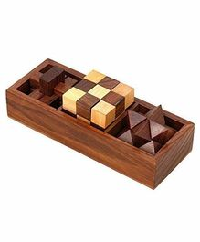 Desi Karigar 3 In One Wooden 3D Puzzles Games Set - Brown