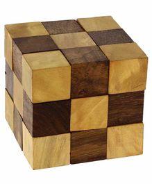 Desi Karigar Handmade Wooden Puzzle Adult Snake Cube - Brown