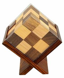 Desi Karigar Handmade Wooden Game Soma Cube In Stand - Brown