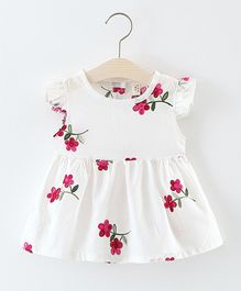 Pre Order - Awabox Thread Embroidered Flower Dress - White & Pink