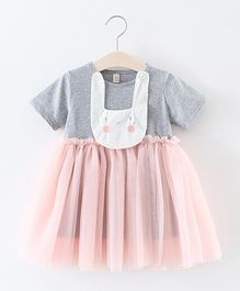 Pre Order - Awabox Kitty Applique Dress With Soft Net Layer - Grey & Pink