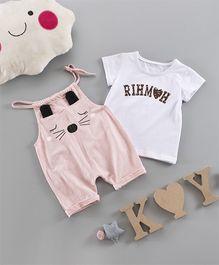 Pre Order - Awabox T-Shirt With Cat Dungaree Set - Pink