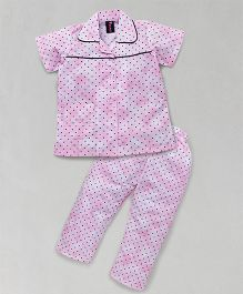 Enfance Night Suit With Small Dots All Over  - Pink
