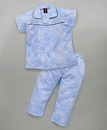 Enfance Night Suit With Small Dots All Over - Blue