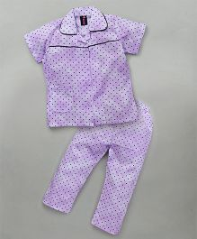 Enfance Night Suit With Small Dots All Over - Purple
