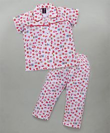 Enfance Stylish Collared Halfsleeves Night Suit With Prints - White & Red