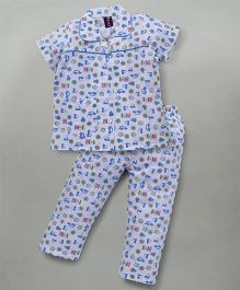 Enfance Stylish Collared Halfsleeves Night Suit With Prints - White & Blue