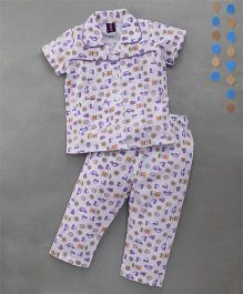 Enfance Stylish Collared Halfsleeves Night Suit With Prints - White & Purple