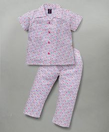 Enfance Half Sleeves Night Suit With Stylish Collar - White & Pink