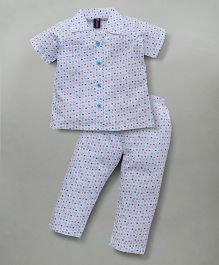 Enfance Half Sleeves Night Suit With Stylish Collar - White & Blue