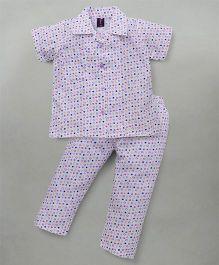 Enfance Half Sleeves Night Suit With Stylish Collar - White & Purple
