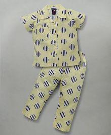 Enfance Half Sleeves Circle Print Night Suit - Yellow