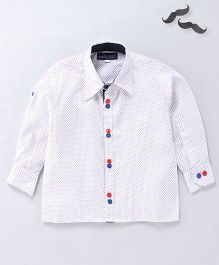 Knotty Kids Dot Print Shirt With Double Button Pattern - White