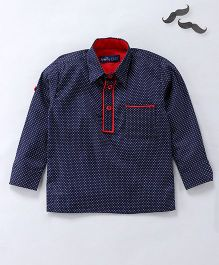 Knotty Kids Full Sleeves Pathani Style Shirt - Blue And Red