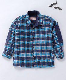 Knotty Kids Full Sleeves Checkered Shirt - Blue