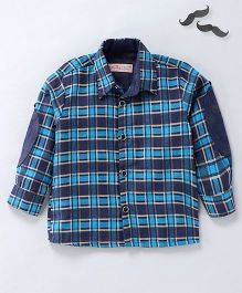 Knotty Kids Full Sleeves Checkered Shirt - Blue