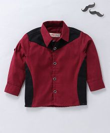 Knotty Kids Stylish Full Sleeves Shirt - Dark Red & Black