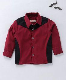 Knotty Kids Stylish Full Sleeves Shirt - Dark Red & Black