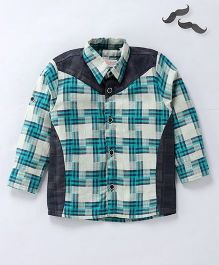 Knotty Kids Full Sleeves Checkered Shirt - Green & Grey