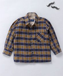 Knotty Kids Contrast Checkered Shirt - Blue And Beige