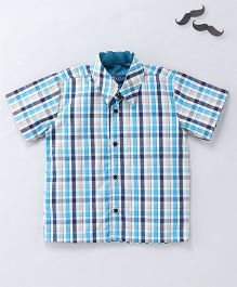 Knotty Kids Half Sleeves Checkered Shirt - Blue And Beige