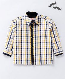 Knotty Kids Full Sleeves Checkered Shirt - Yellow And Black