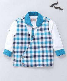 Knotty Kids Checkered Blazer Style Shirt - Blue