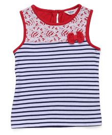 Beebay Sleeveless Striped Tee With Bow Applique - Red Navy