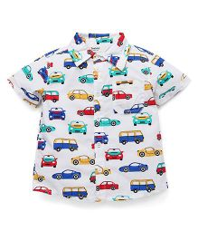 Beebay Half Sleeves Vehicle Printed Shirt - White
