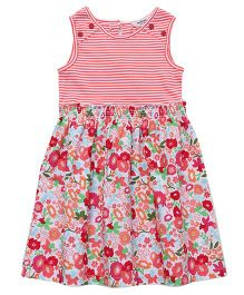 Beebay Sleeveless Frock With Stripes And Floral Print - Multi Color