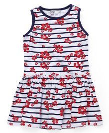 Beebay Sleeveless Striped And Floral Printed Frock - Red White