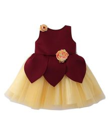 Bluebell Sleeveless Party Wear Frock Floral Appliques - Maroon Yellow