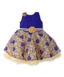 Bluebell Sleeveless Frock Floral Embroidery - Blue