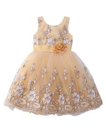 Bluebell Sleeveless Party Frock Flower Applique - Fawn