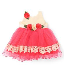 Bluebell Sleeveless Party Wear Frock With Floral Applique - Cream Tomato Red