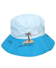 Little Wonder Sea Embroidered Hat - Sky Blue & White