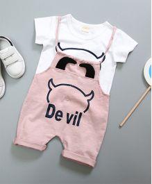 Pre Order - Awabox Devil Dungaree Set With T-Shirt - Pink