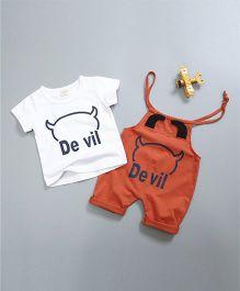 Pre Order - Awabox Devil Dungaree Set With T-Shirt - Orange
