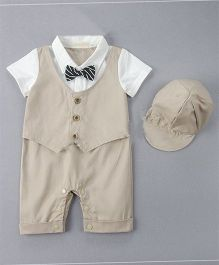 Dells World Attached Jacket Romper With Cap & Bow - Brown & White