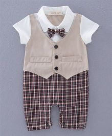 Dells World Attached Jacket Romper With Checkered Bow - Brown & White