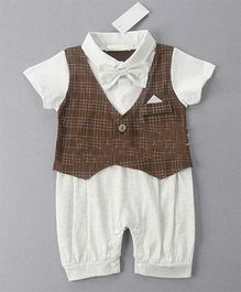 Pre Order - Dells World Checkered Jacket Attached Romper With Bow - Brown & White